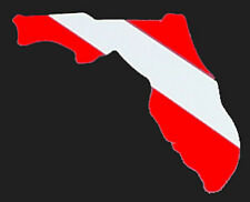 """Sticker Florida Map Divers Flag decal Rear Window Bumper Tank 4"""" White Red"""