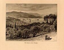 Stampa antica ISTANBUL da Tarabya Costantinopoli Turchia Turkey 1879 Old Print