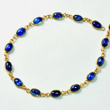 14k Solid Yellow Gold Smooth Kyanite Oval Bezel Gemstone Chain 7 INCH lots
