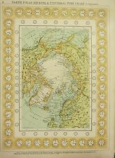 1912 LARGE ANTIQUE MAP ~ NORTH POLAR REGIONS & UNIVERSAL TIME CHART