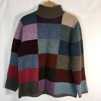 Vintage 90s Eddie Bauer Lambs Wool Patchwork Color Block Sweater womens L EUC