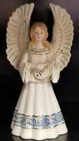 "Porcelain Ceramic 10"" Angel Holding Musical Instrument"