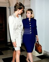 FIRST LADY HILLARY CLINTON w/ PRINCESS DIANA IN 1994 - 8X10 PHOTO (BB-534)