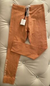 NWT $90 Burberry Girls Orange Leggings 8 Pants Girls