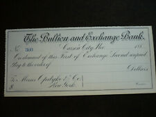 Blank unused Cheque from the Bullion and Exchange Bank of Carson City, Nevada