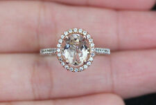 New 10K White Gold Sz6,7,8 Natural Morganite & Zircon Halo Engagement Ring Rose