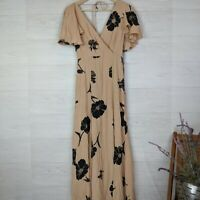 NWT Privacy Please Moni Black Botanical Floral Tan Maxi Dress - Small