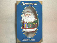 "POLYSTONE ORNAMENT COLLECTION SANTA ""JOY "" CHRISTMAS ORNAMENT COLLECTIBLE NEW"