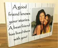 """7x5"""" Personalised Wood Photo Quote Block Friendship Best Friend Present Gift"""