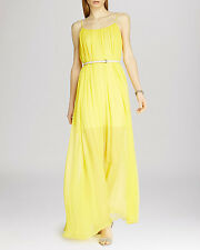 HALSTON HERITAGE  Belted Sheer Overlay Maxi Dress ( size XS)