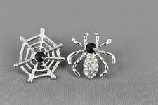 Spider web earrings Silver Black halloween earrings stud post earrings