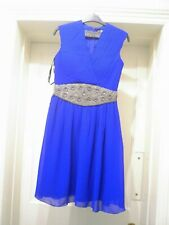 LITTLE MISTRESS:FAB COBALT BLUE CHIFFON SKATER STYLE DRESS BNWT UK 8 RRP £60