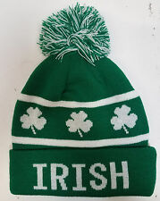 St. Patricks Day - IRISH - GREEN Skull Hat with Tassle and Clovers