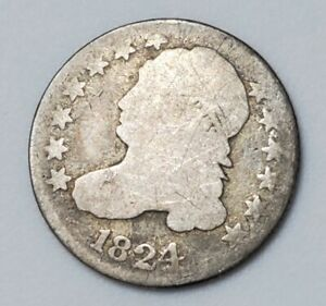 1824/2 Philadelphia Mint Silver Capped Bust Dime Flat Top - US Coin
