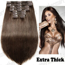 Elegant Thick Double Wefted Clip In Remy Human Hair Extensions Full Head US B4