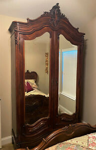 Antique c1870 French Rococo Carved Walnut Mirrored Double Armoire - WE SHIP!