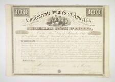 Authentic - 1861 Confederate States - Civil War 100 Bond Certificate *028