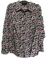 JONES NEW YORK Signature Flowered Button Up Light  Long Sleeve Blouse Size XL