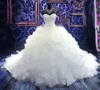 White/Ivory Long Wedding Dress Strapless Bridal Gown Custom Size 2-10-12-14-16++