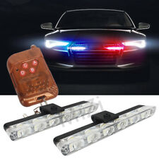 Blue+Red 12V  2X 6Led Police Light Strobe Emergency Firemen Warning Lamp