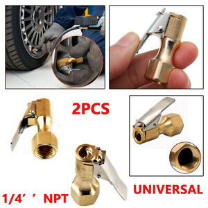 2PCS Golden Brass Clip-on Female 1/4'' NPT Tyre Inflater Air Chuck Durable