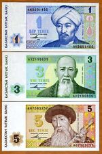 Set Kazakhstan, 1;3;5 tenge, 1993 Picks 7-8-9, First Independent Issue, Unc