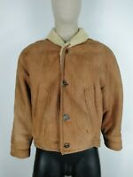 SHEARLING MONTONE MADE IN ITALY Cappotto in PELLE Giubbotto Giacca Tg 52 Uomo