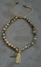 NEW Chan Luu Wood Silver Beads and Feather Charm Tassel Cotton Pulley Bracelet
