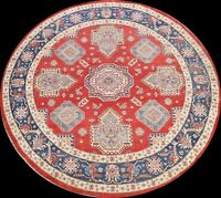 Round Hand-knotted Vegetable Dye Super Kazak Geometric Oriental Area Rug 9x9 RED