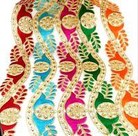 Indian Authentic craft Colorful Trim Ribbon Sewing Craft Lace Sari Border 1 Yard