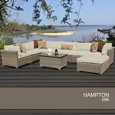 Hampton 9 Piece Outdoor Wicker Patio Furniture Set 09b