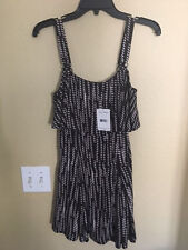 NEW FREE PEOPLE Paper Flowers Dress With Overlay Sze 0 $108 Black Combo Bloomies