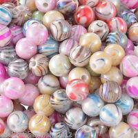 300 Mix Acryl Rund Streifen Spacer Perlen Beads Kugeln Basteln 8mm