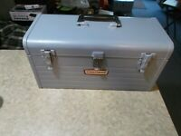 Vintage Craftsman Gray Metal Single Compartment Hand Tool Box W/Tray