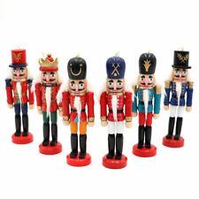 6Pcs Wooden Nutcracker Doll Soldier Figurines Vintage Puppet Christmas Ornaments