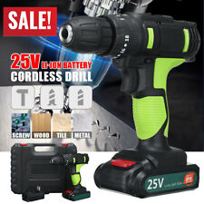 25V 3/8'' LED Cordless Electric Impact Drill Driver Hammer 2 Li-Ion Battery Set