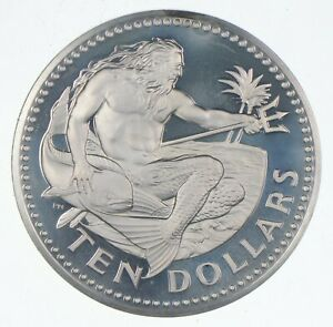 SILVER Roughly Size of Quarter 1973 Barbados 10 Dollars World Silver Coin *371