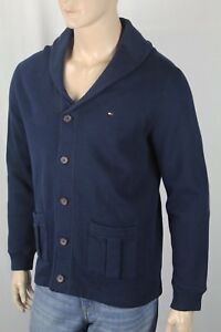 Tommy Hilfiger Navy Blue Cardigan Sweater Elbow Patches NWT