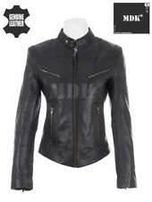 Women''s Super Soft Ladies Real Leather Stylish Fitted Biker Jacket Black by MDK