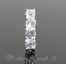 PRETTY 925 STERLING SILVER REVERSE CLEAR CZ 316L SURGICAL STEEL BELLY BAR RING