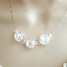 Große BERGKRISTALL KETTE 925 Silber Halskette schlicht weiß Sterlingsilber f446