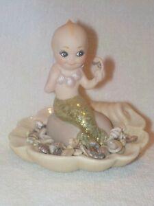 Artist Made Bisque Mer-Kewp Mermaid Kewpie Figurine Sitting In A Shell