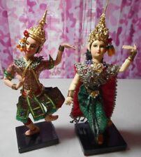 Set of 2 - Vintage - Thailand - Dancers - Man & Woman - Ornate Costumes