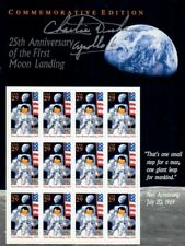 Apollo 16 Astronaut Charlie Duke Signed Sheet of 25th Anniversary Stamps