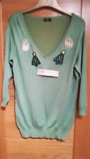 SIZE 14 LADIES SEQUIN LIGHT GREEN SPARKLE CHRISTMAS JUMPER,V NECK,3/4 SLEEVE WOW