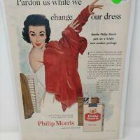 Vintage 1955 PHILIP MORRIS Cigarettes Tobacco 50's Smoking Ephemera Print Ad