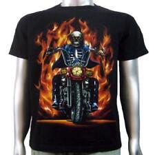 Calavera Llamas Custom Harley Chopper Alta Manillar Biker Tee Para Hombre Camiseta M & L