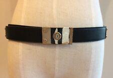 """Yves Saint Laurent YSL Women's Black Leather Belt Small (30""""-32"""")"""