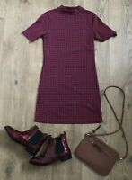 Topshop Dress Size 10 Red Blue Short Sleeve Knit High Neck Shift Stretchy Plaid?