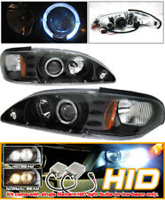 Fits Xenon HID 94-98 Mustang Black Halo Projector Headlights
